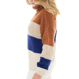 Woven Heart Color Block Sweater