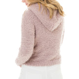 Woven Heart Cropped Hooded Sweater