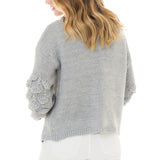Woven Heart Cardigan with Sleeve Detail