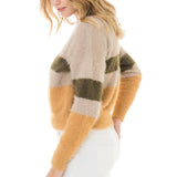 Woven Heart Striped Cozy Sweater