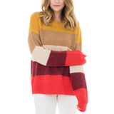 Woven Heart Striped Oversized Sweater