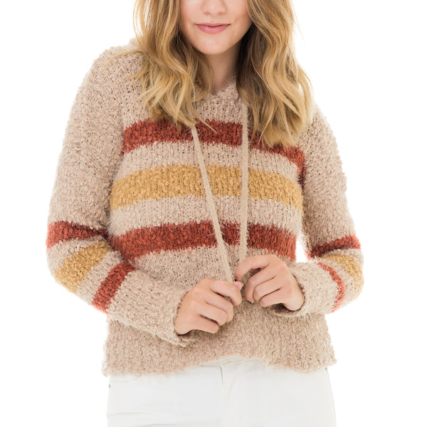 Woven Heart Striped Sweater