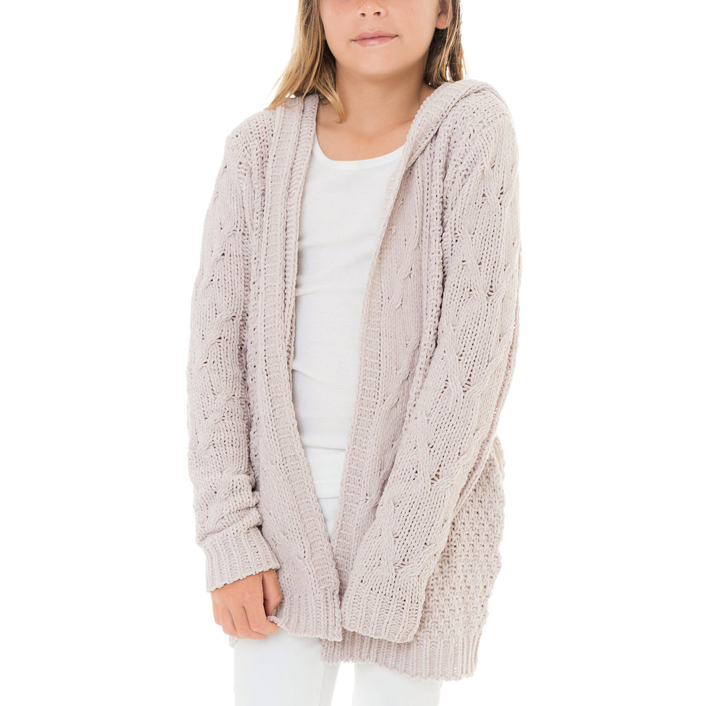 Girls Chenille Cable Knit Cardigan
