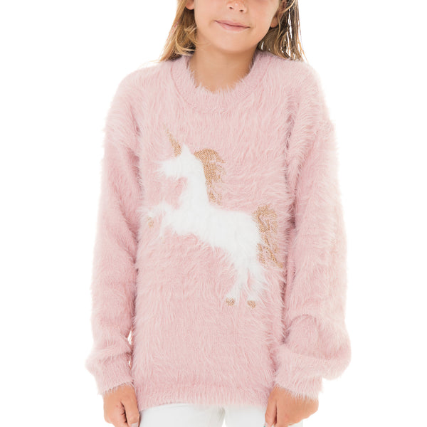 Girls Unicorn Pullover Sweater
