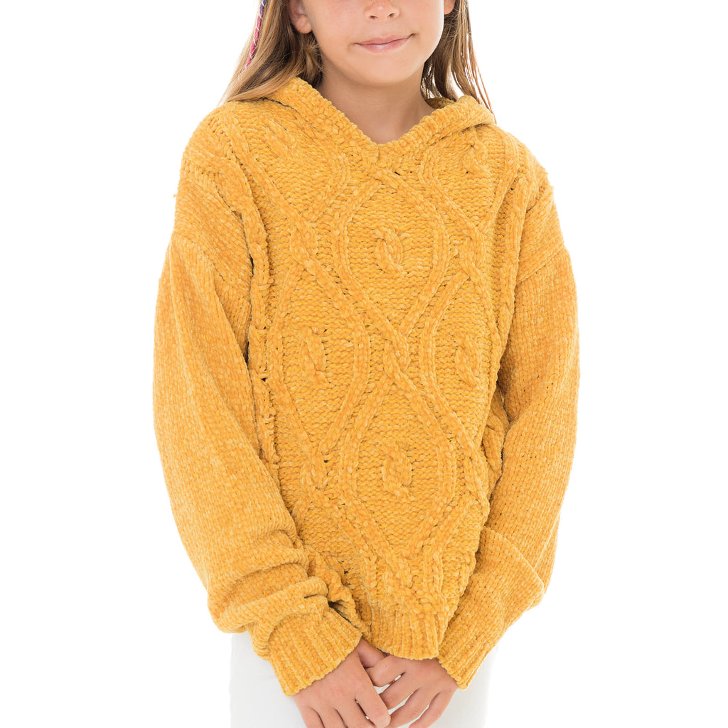 Girls Cable Knit Sweater with Hood