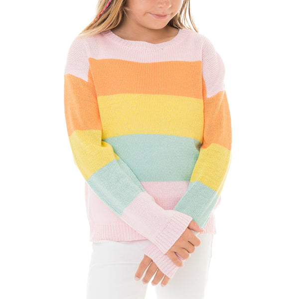 Girls Rainbow Pullover Sweater