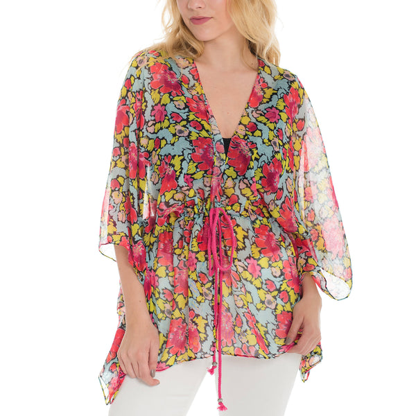 Woven Heart Floral Coverl Up