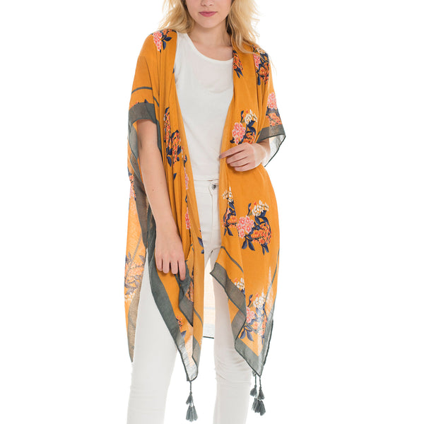 Woven Heart Floral Kimono with Tassels