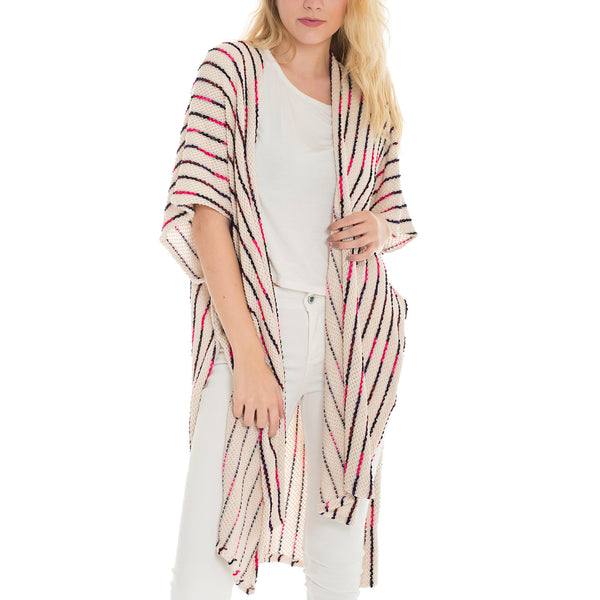 Woven Heart Striped Knitted Kimono