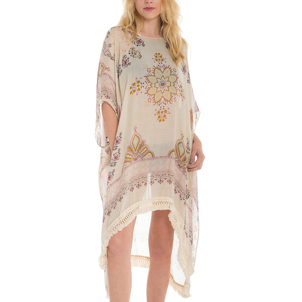 Woven Heart Floral Poncho