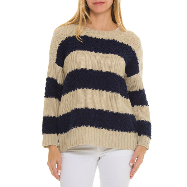 Cassandra Color Block Woven Heart Sweater