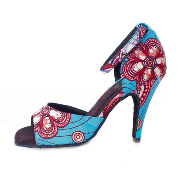 a0bb7f9d269748 Iris 1 - Iconic turquoise blue and pink African print ladies shoe – KAYNADU