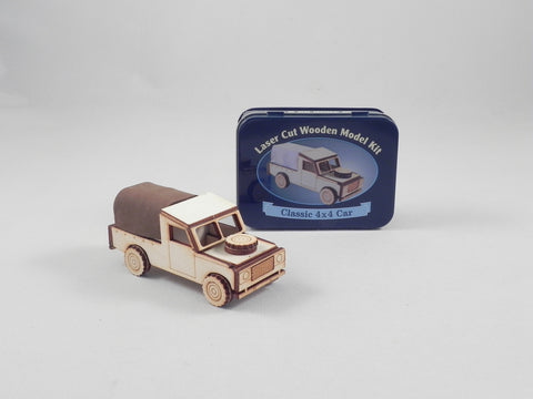 Classic 4x4 Car Laser Cut Wooden Model Kit