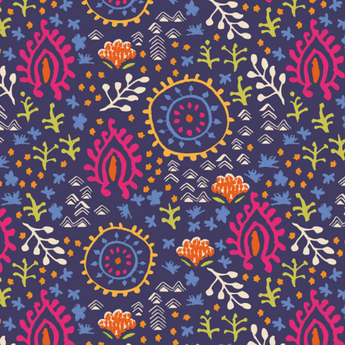 Distant Dreams - Navy Paisley Floral