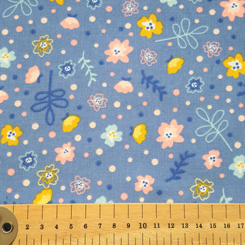 Floral Needlecord- Light Blue