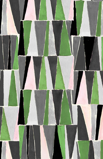 Geometrics Triangles brown and green light blue and pink