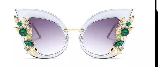 Oversized Cat eye Rhinestone Sunglasses