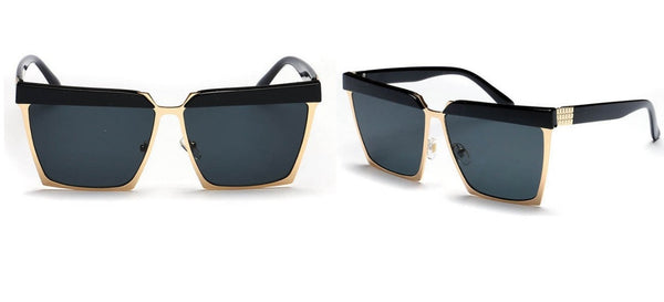 Unisex Square Sunglasses with Gold Frame