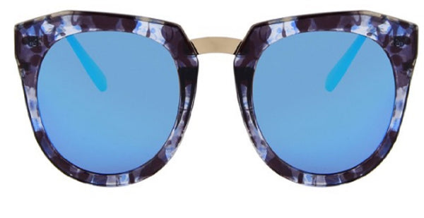 Round Blue Women Sunglasses with Gold Legs