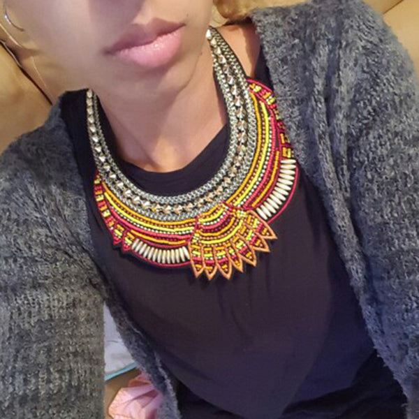 Multicolored African Bib Statement Necklace