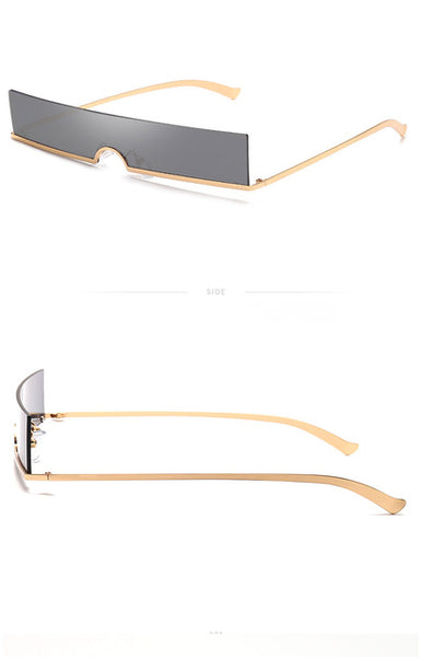 Long Rimless Rectangle Sunglasses