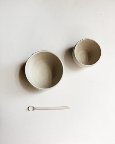 Beanpole Pottery Nesting Bowls and Spoon Set Matte White