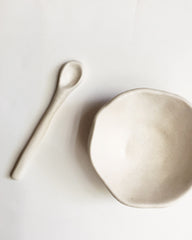 Beanpole Pottery Salt Dish and Spoon Set Glossy Off White