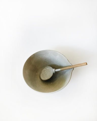 Beanpole Pottery Bowl and Spoon Set Matte Grey