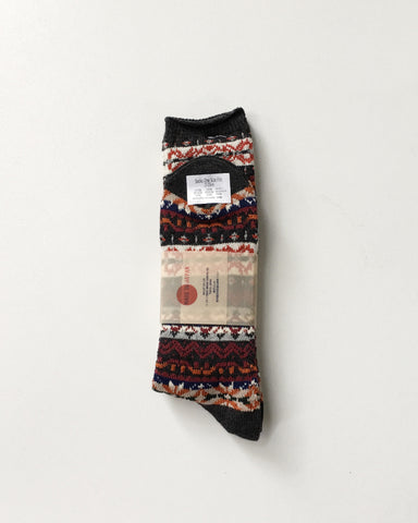 Anonymous Ism Fair Isle Burgandy Socks