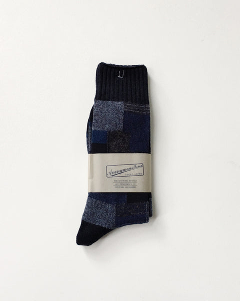 Anonymous Ism Patchwork Navy Socks / Made in Japan / Orn Hansen