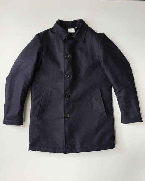 Vetra Navy Cotton and Linen Quilted Coat