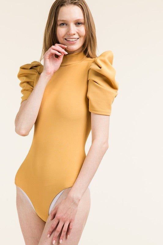 Busy Boss Bodysuit in Mustard - Downtown Chic Online