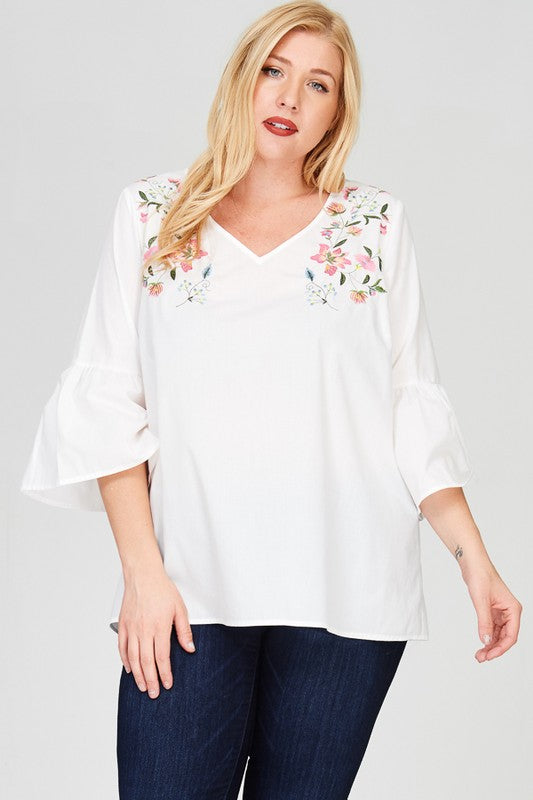 Flora top in white - Downtown Chic Online