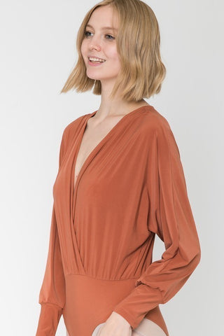 Corporate Hustler Bodysuit in Rust - Downtown Chic Online