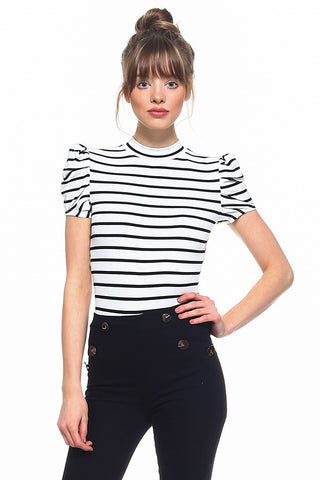 Stripe Body Suit - Downtown Chic Online