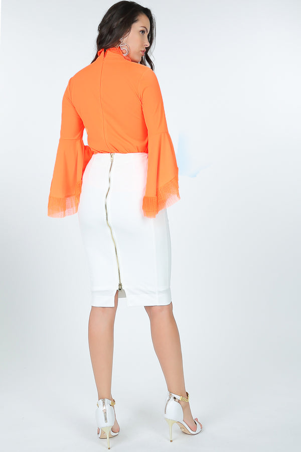Zip It Pencil Skirt in White - Downtown Chic Online
