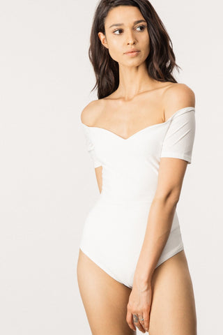 Let's Kick It Bodysuit in White - Downtown Chic Online