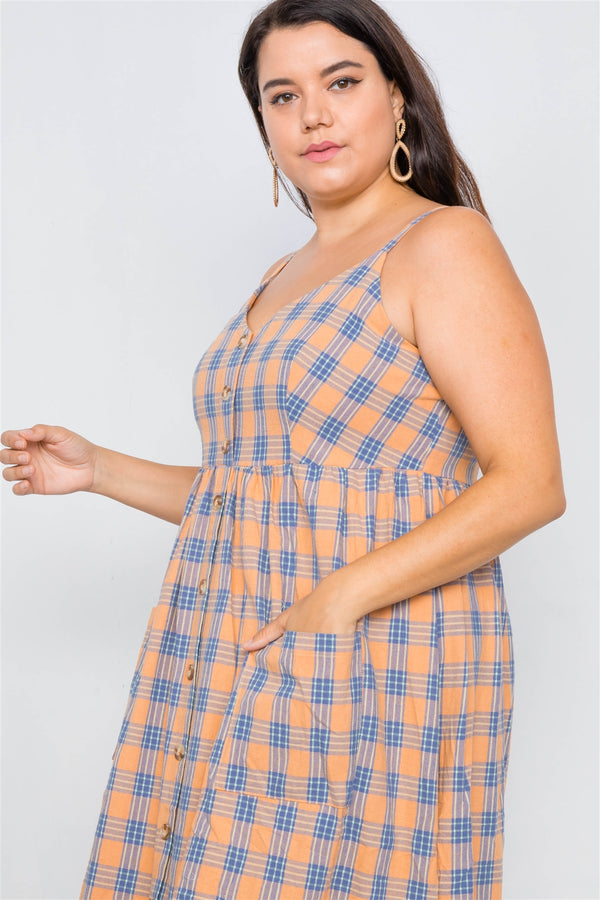 Orange Plaid V-neck Midi Dress