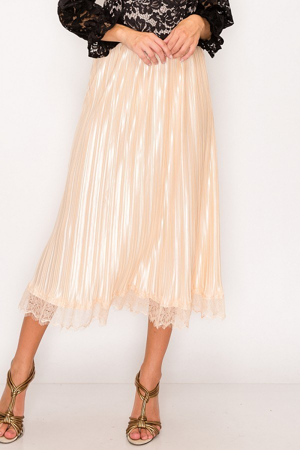 Lace Trim Midi Skirt