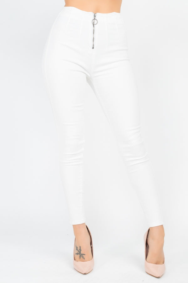 High Waist Denim Jeans in White