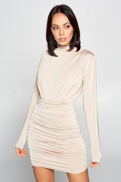Forever Chic Long Sleeve Dress in Taupe
