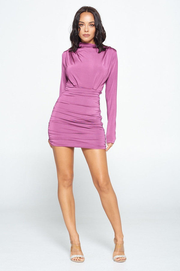 Forever Chic Long Sleeve Dress in Plum