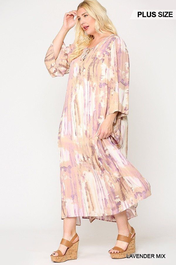 Tie Dye Printed Maxi Dress in Lavender Mix