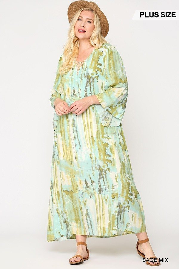 Tie Dye Printed Maxi Dress in Sage Mix