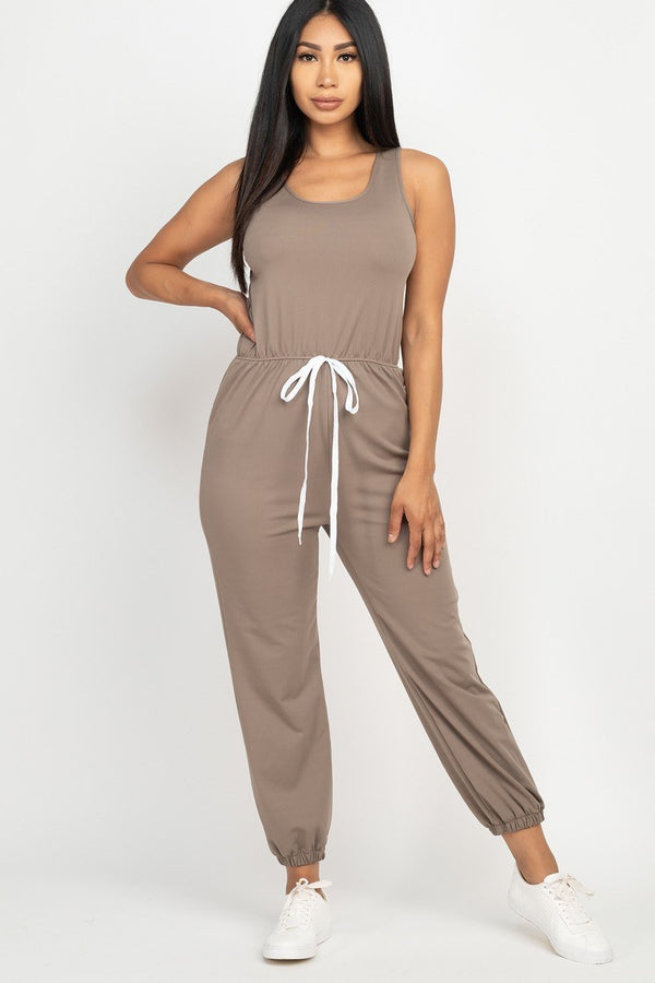 Hanging Out Jogger Jumpsuit in Taupe