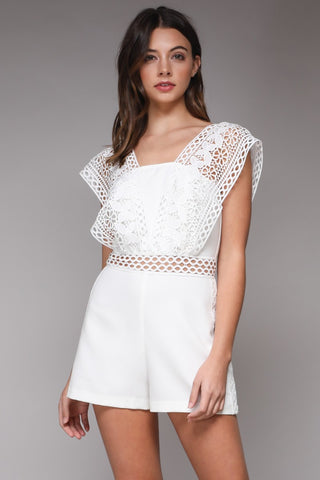 See You Later romper in white - Downtown Chic Online