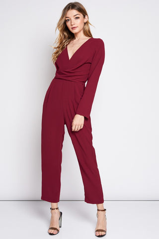 Pinot Noir Jumpsuit in Burgundy - Downtown Chic Online
