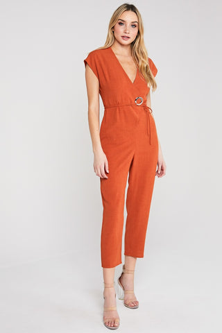 Powerhouse Jumpsuit in Rust - Downtown Chic Online
