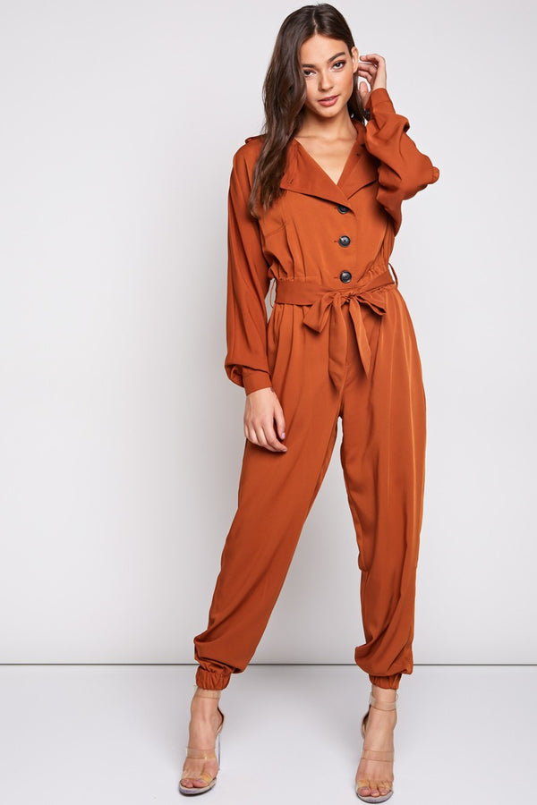 Boiler Room Jumpsuit in Brick - Downtown Chic Online