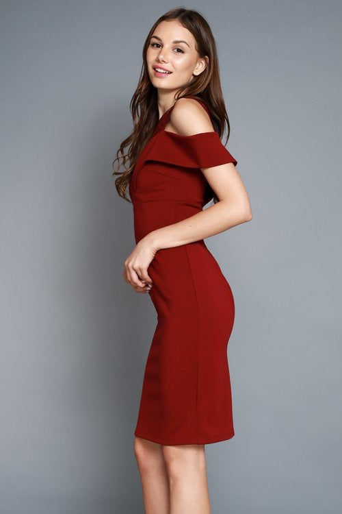 Nine to Nine Dress in Burgundy - Downtown Chic Online